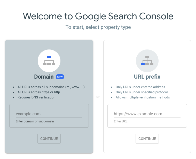 google search console welcome page to add your website