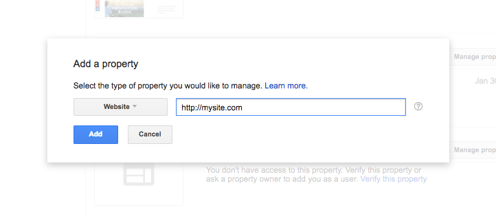 google search console add a property