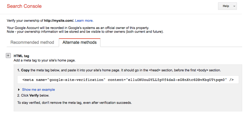 verify google search console