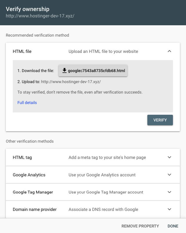 verify example to add your domain on google search console