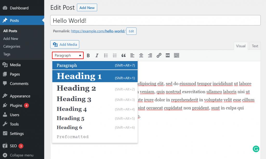 Choosing heading in Classic Editor WordPress