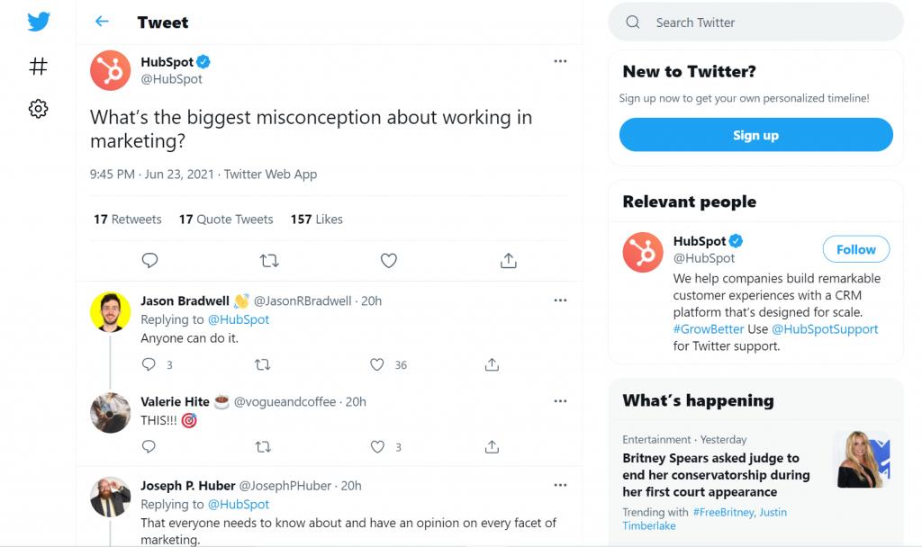 Screenshot of hubSpot's tweet