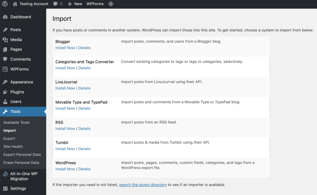 import your rss feed to your wordpress site