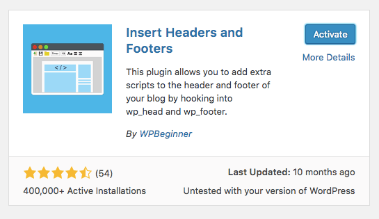 insert headers and footers WordPress plugin