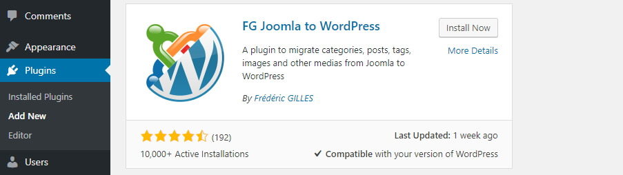 Installing the FG Joomla to WordPress plugin.