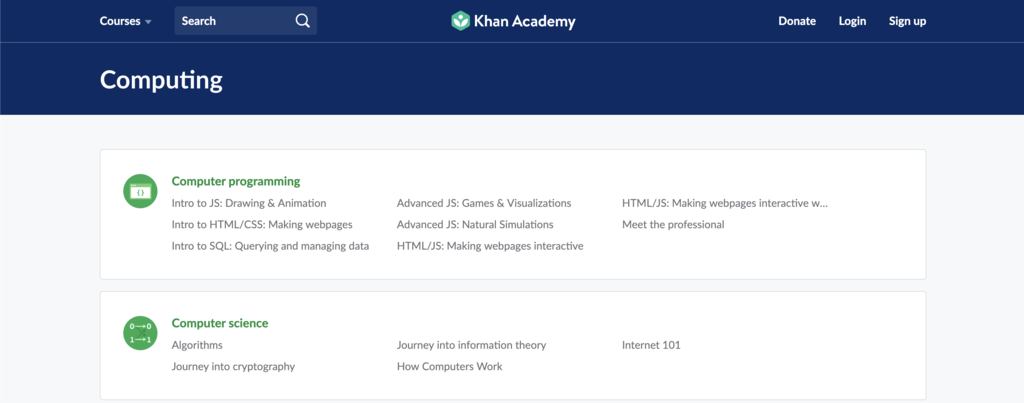khan academy course page for computing and computer programming to learn coding for free