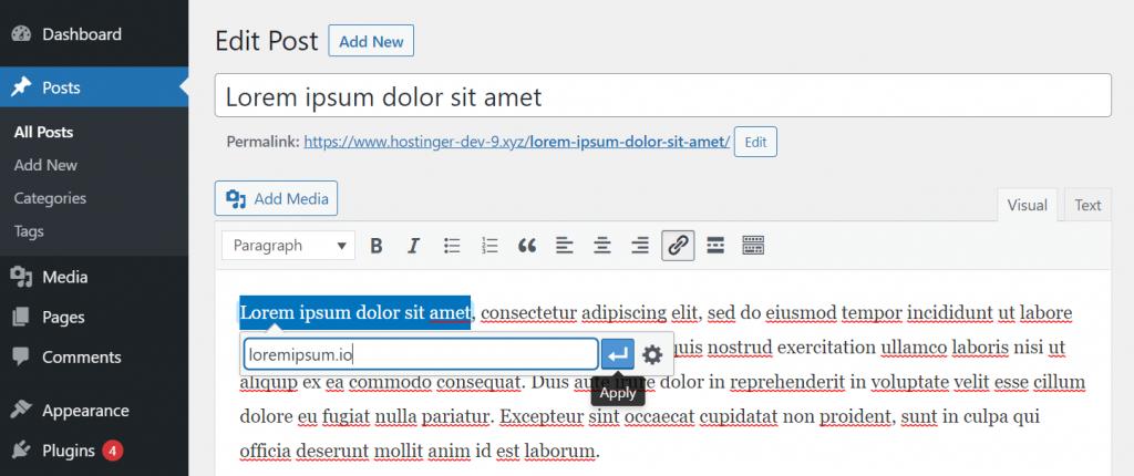 Linking in Classic Editor WordPress