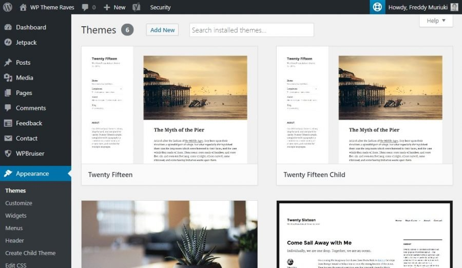 wordpress themes in admin dashboard