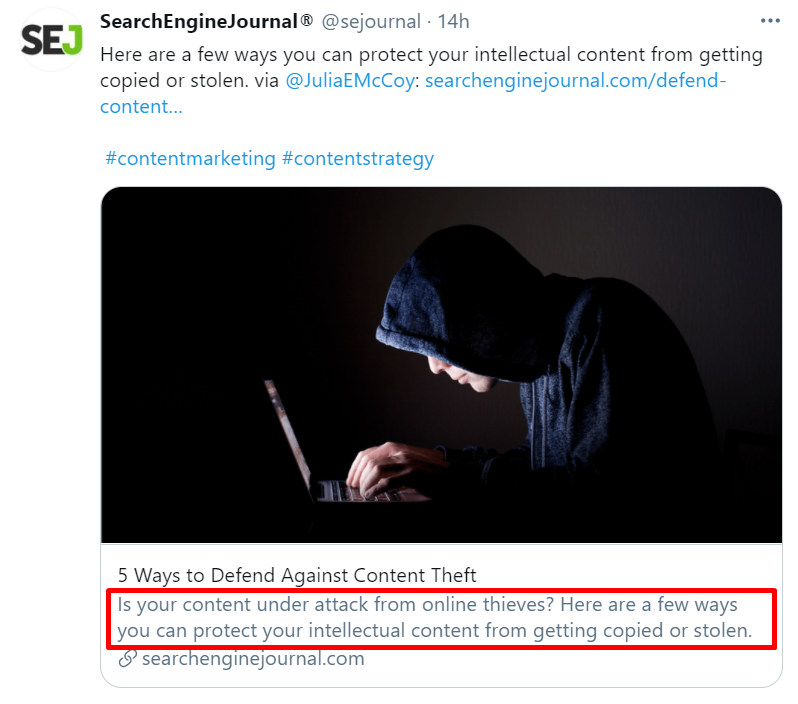 Example of meta description shown in a social media post