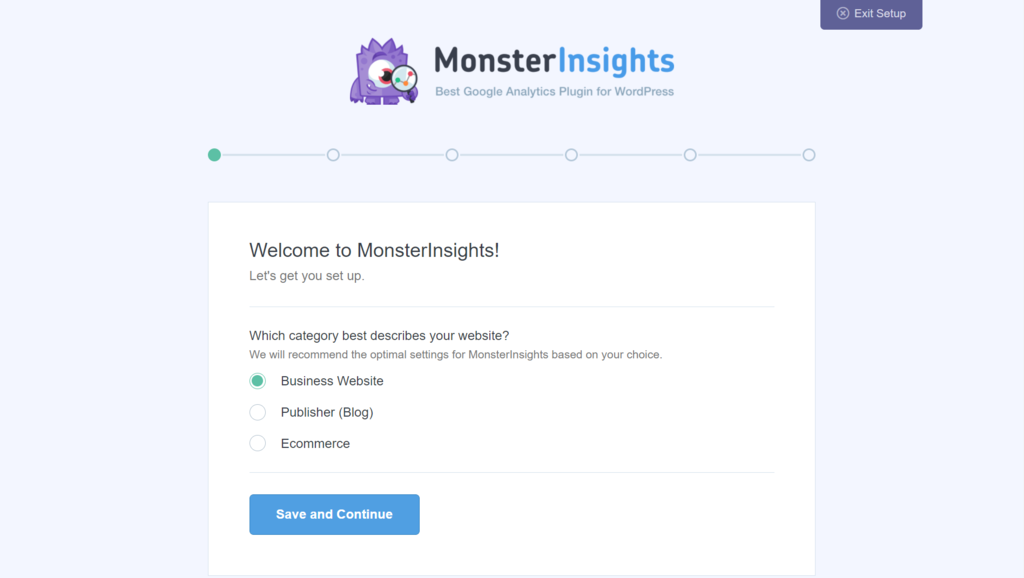 monsterinsights set up page