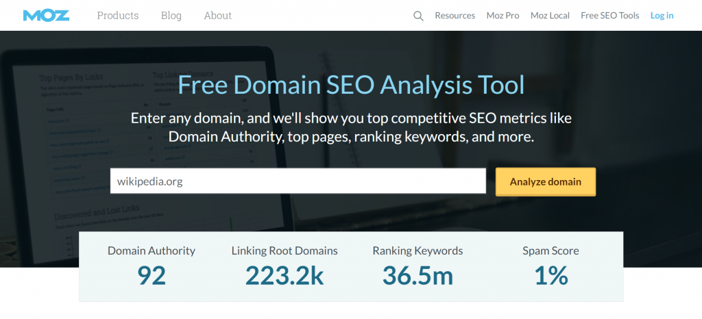 Homepage of Moz