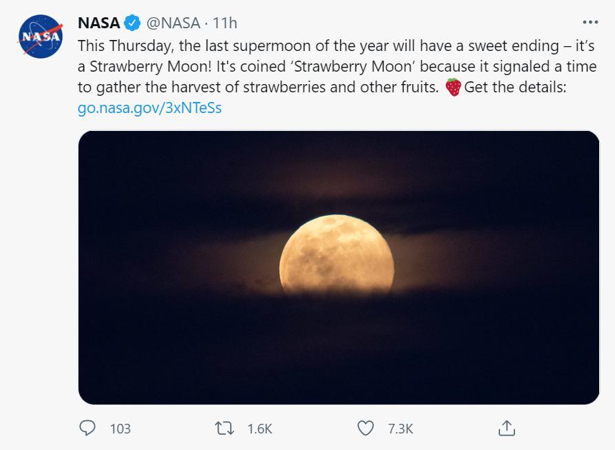 NASA's social media post