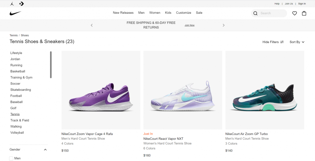 Product page of Nike