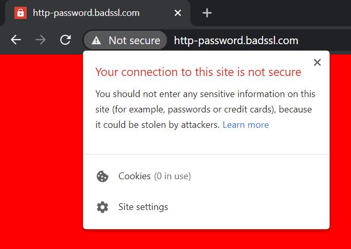 Example of no SSL address bar
