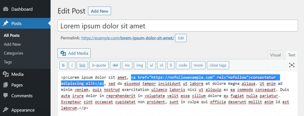 Adding a nofollow tag in HTML