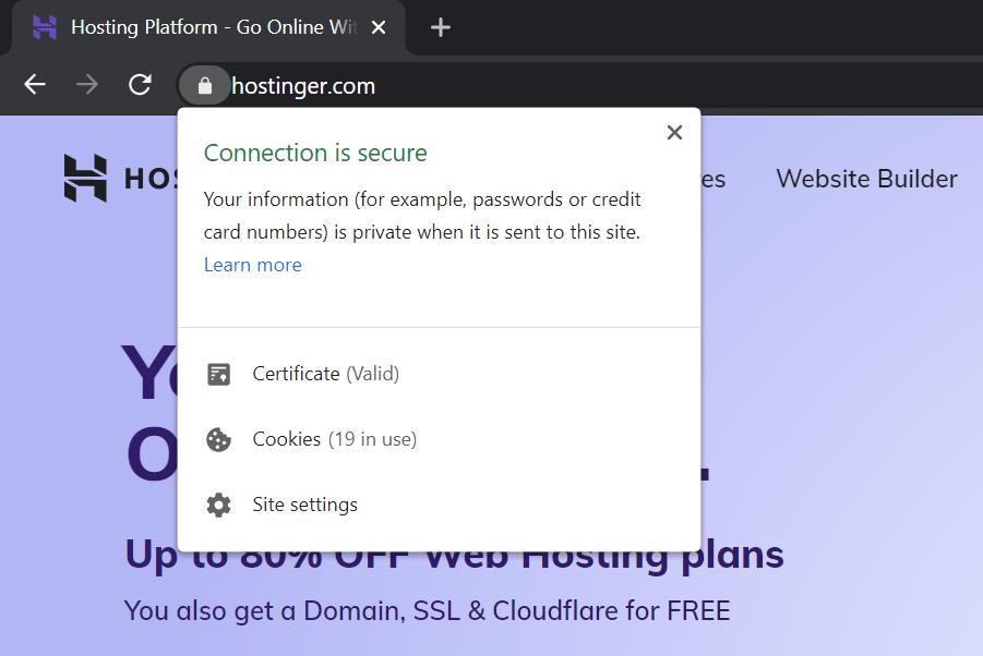 Screenshot of URL padlock