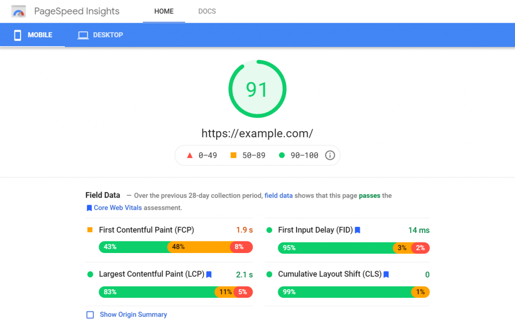 Example of PageSpeed Insights panel