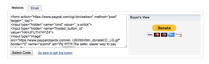 PayPal donate button code