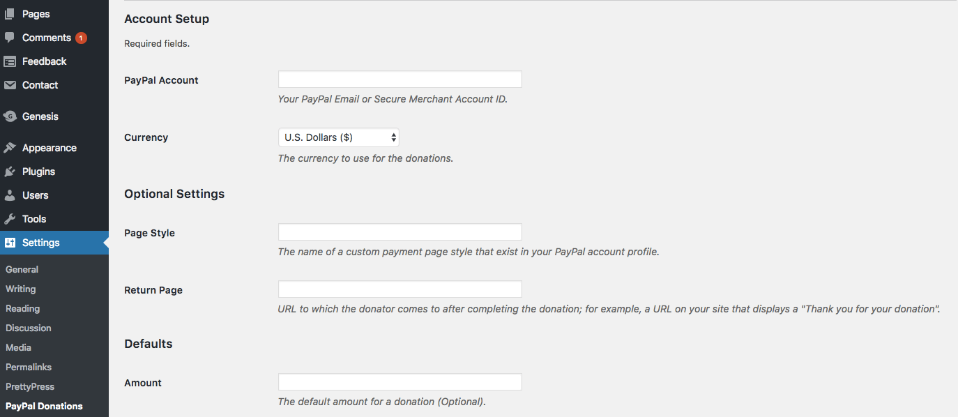 Configuring PayPal donate button in WordPress dashboard