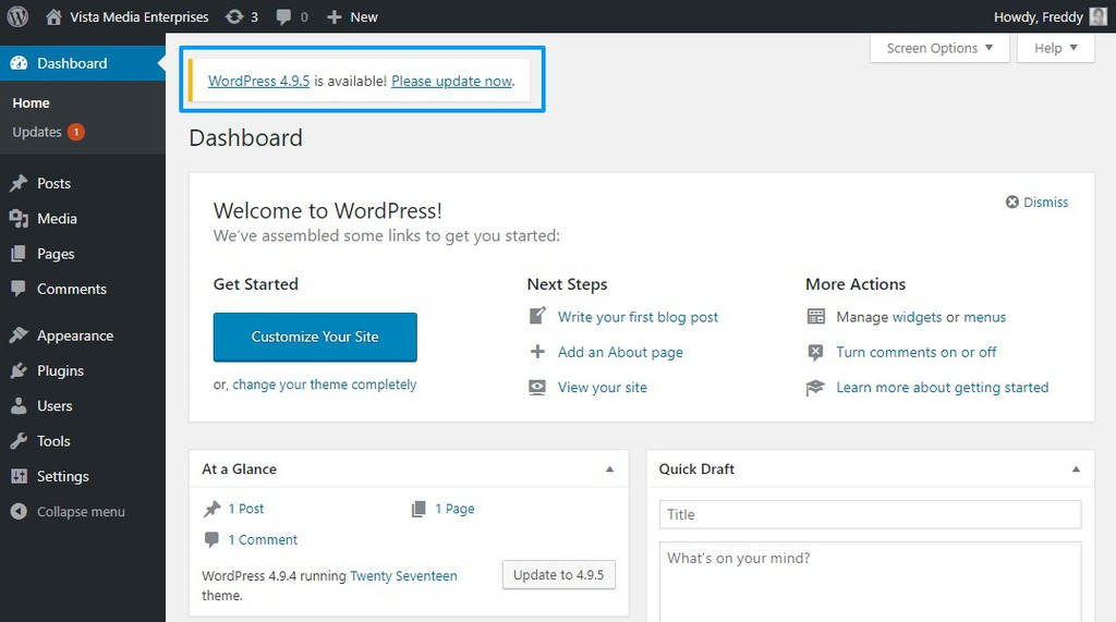 wordpress update notification in admin dashboard
