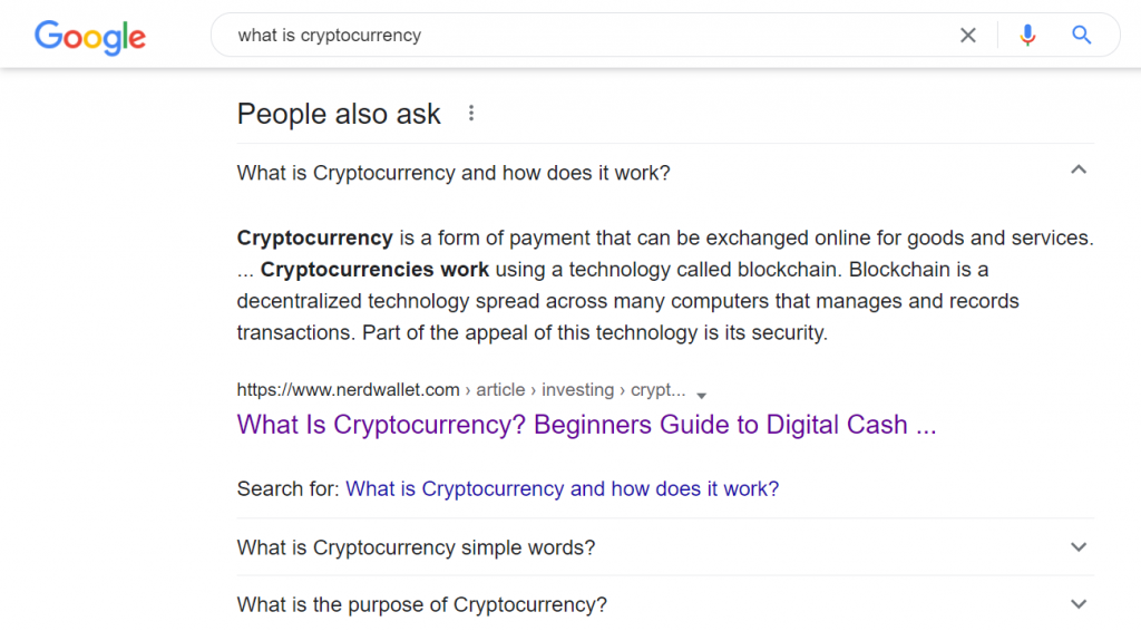 Example of People Also Ask on Google search results