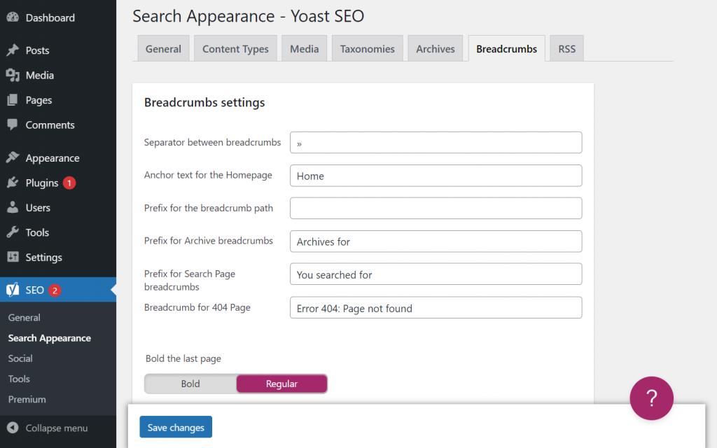 Search appearance setting in Yoast SEO