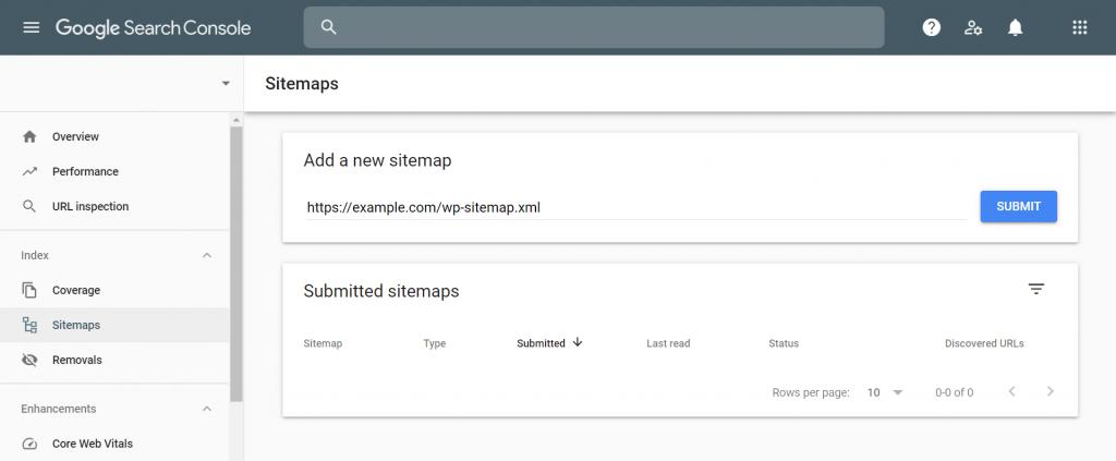 Sitemaps menu in Google Search Console