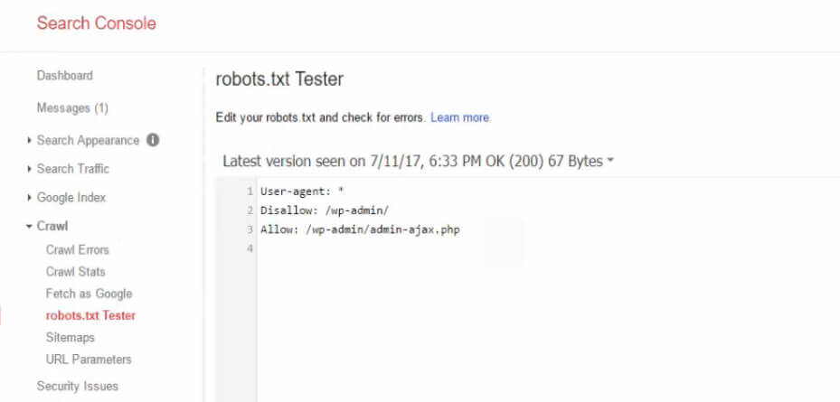 The Search Console tester feature.