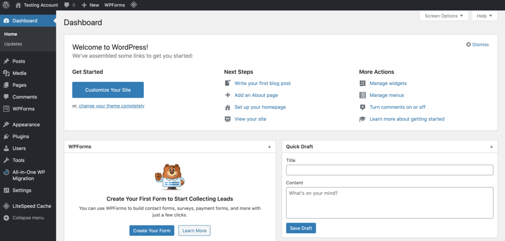 wordpress dashboard to set up your site