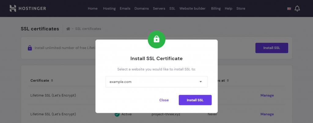 Installing SSL certificate on hPanel