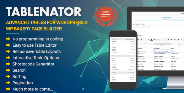 Tablenator WordPress Table Plugin