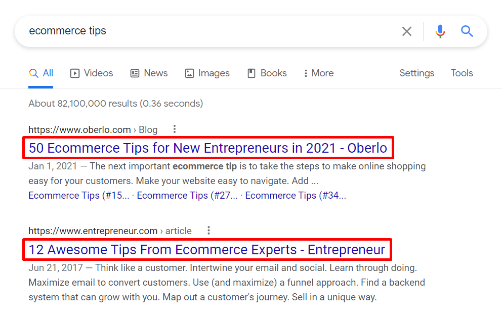 Example of Title tags on SERPs
