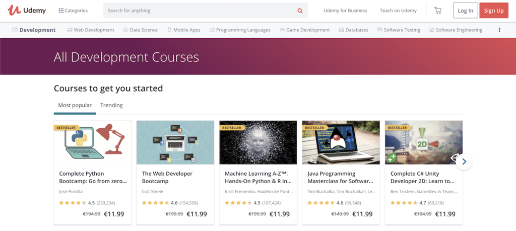 udemy web development courses to learn coding