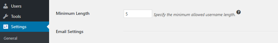 Setting a minimum length for your username,