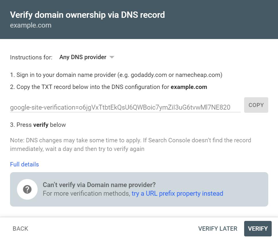 Verifying domain ownership via DNS record