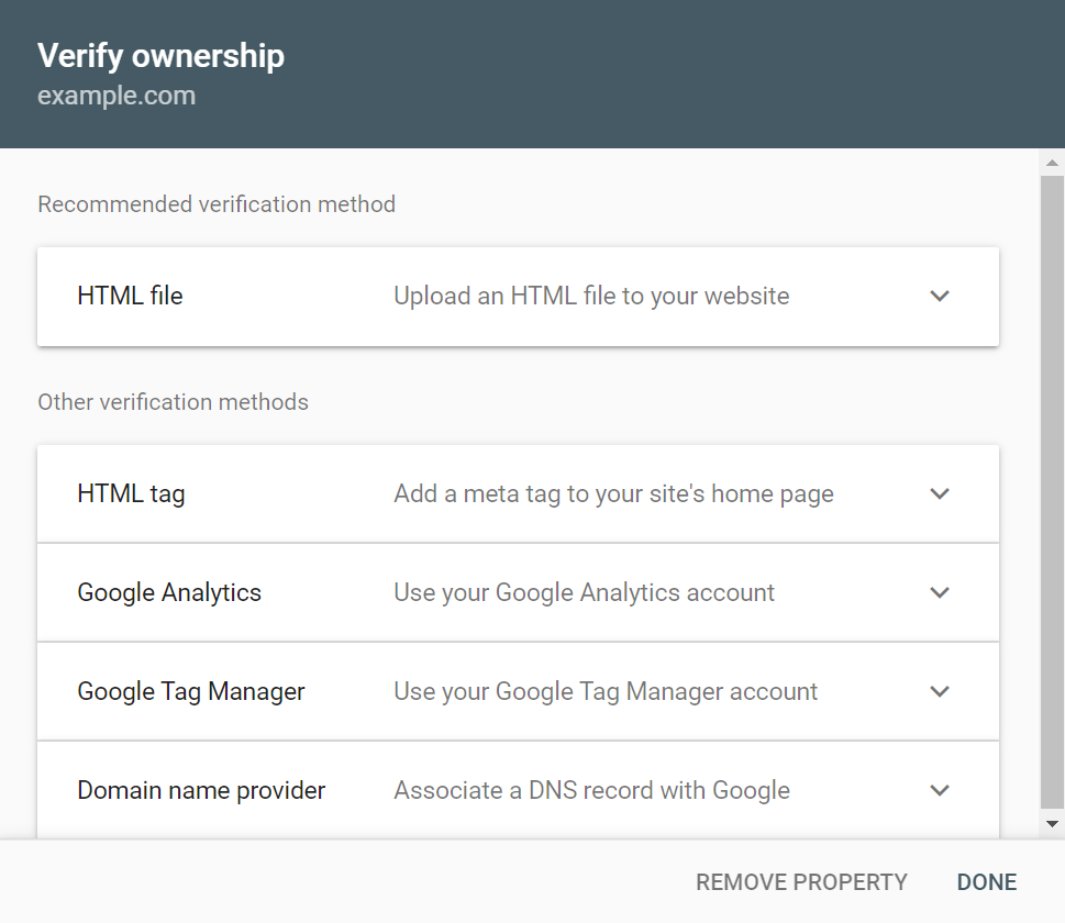 Verifying URL ownership on Google Search Console