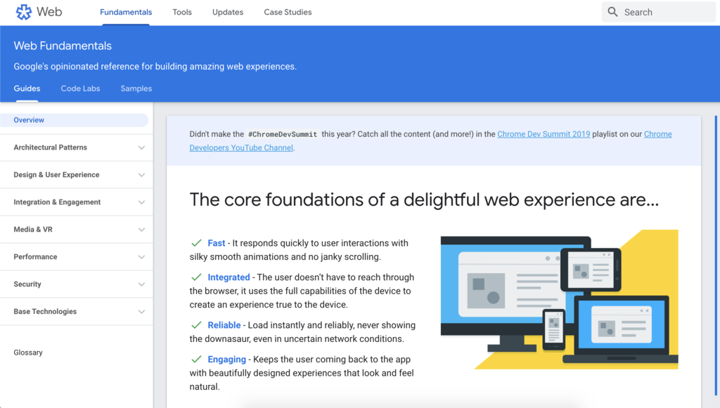 Google's web fundamentals page