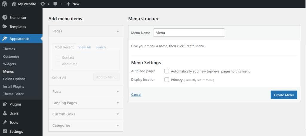 wordpress create a menu appearance options