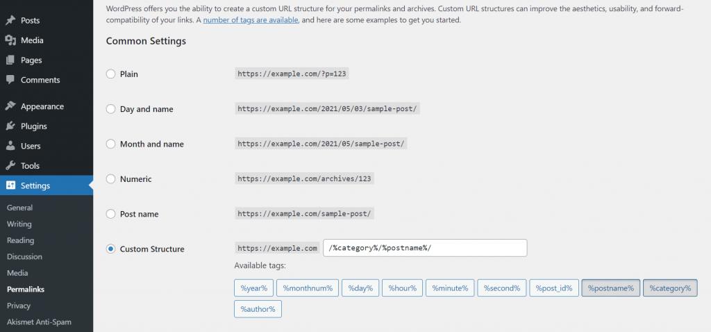 Setting a custom URL on WordPress dashboard