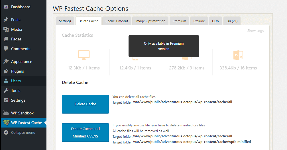 Clearing your cache using the WP Fastest Cache plugin.