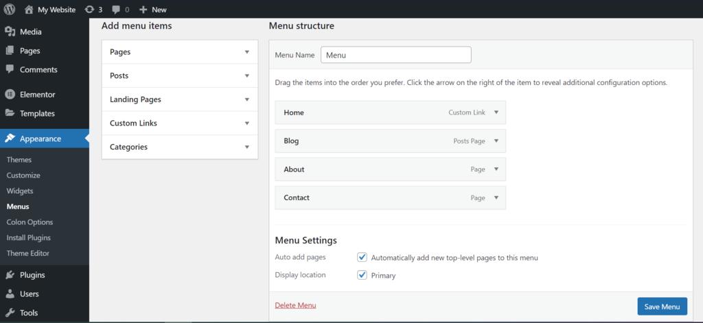 wordpress create a menu saving option