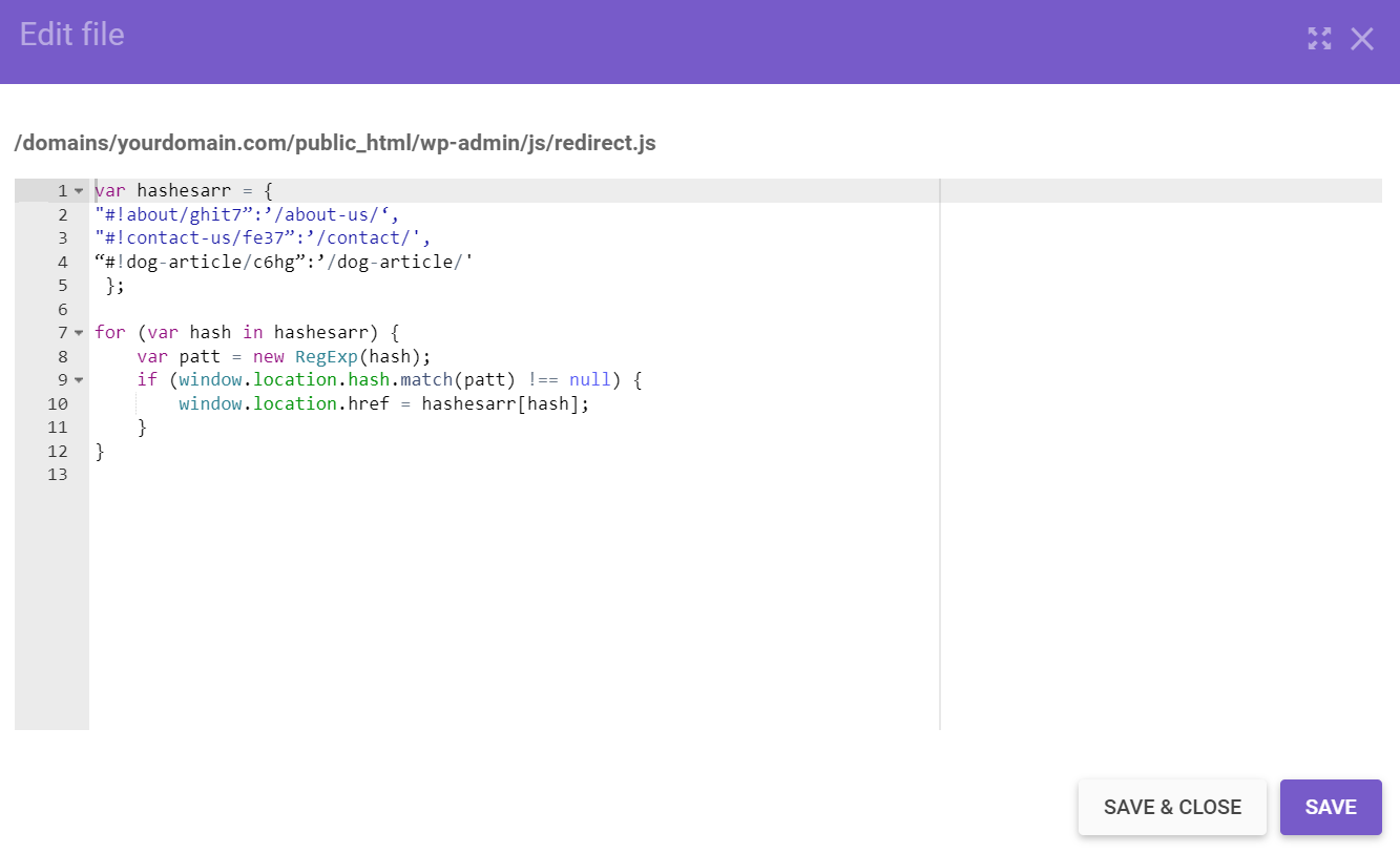 saving redirect.js code from hpanel's file manager