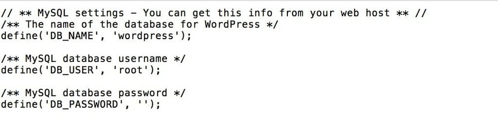 cấu hình file wp-sample-config để cài WordPress trên localhost