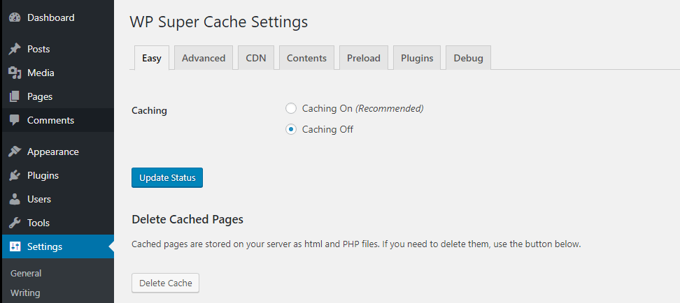 Clearing your cache using WP Super Cache.