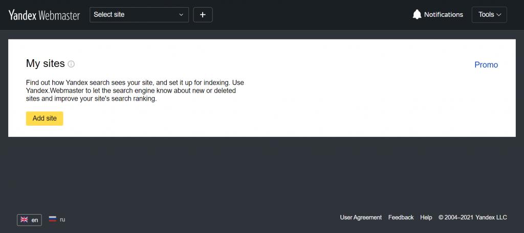 Adding a site to Yandex Webmaster