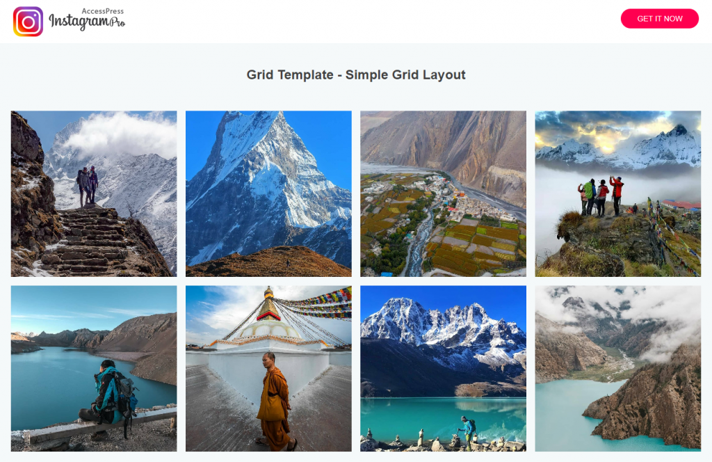 AccessPress Instagram Pro Grid Template