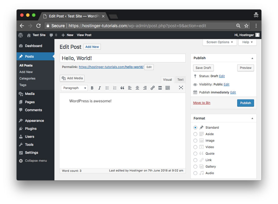 Adding a new post using the WordPress content management system
