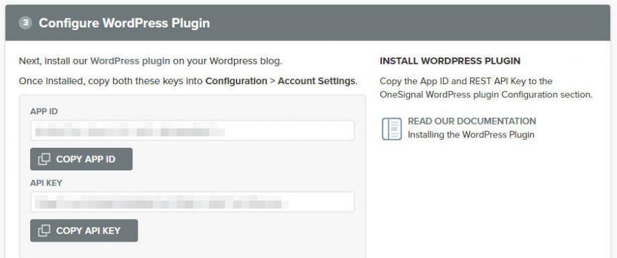 Your OneSignal app ID and API key.