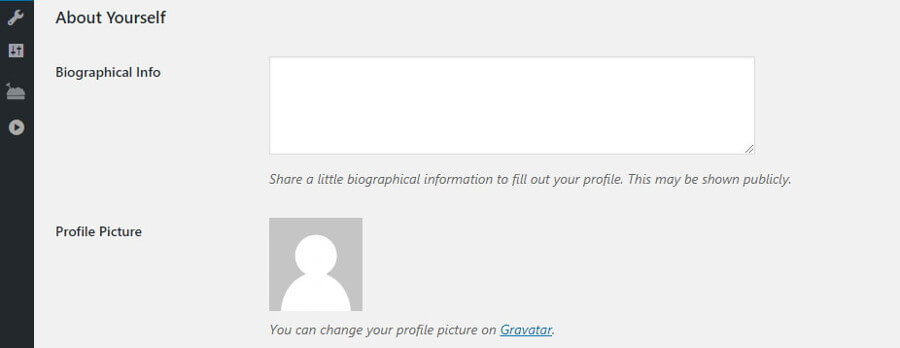 Your profile bio information.