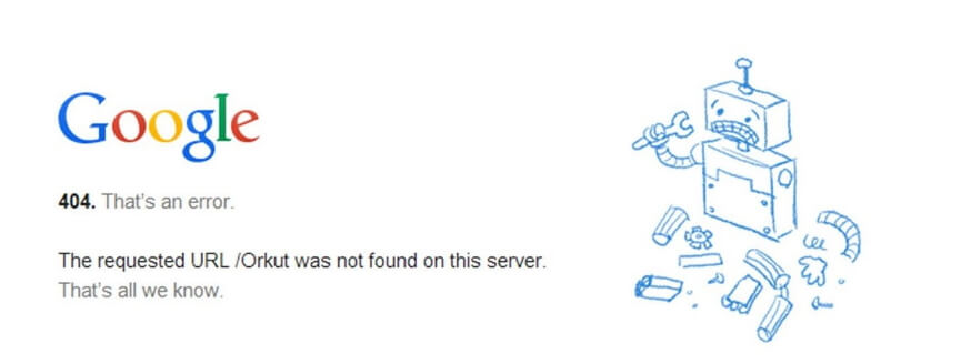 A Google Chrome 404 error.